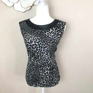Michael Kors faux leather trimmed animal print top